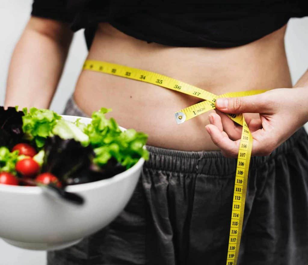 circunferência da cintura, salada de legumes