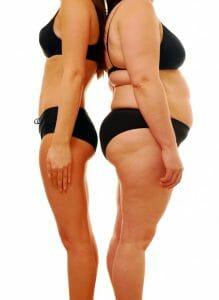 figura magra vs. figura obesa, perda de peso
