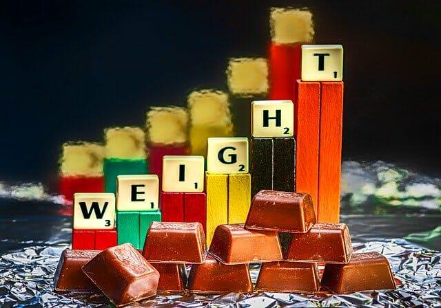 Barras de chocolate e barras com aumento de peso