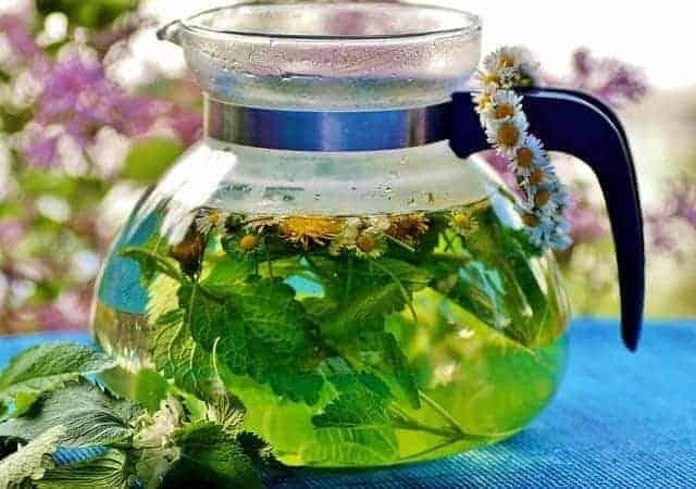 chá de ervas em uma jarra