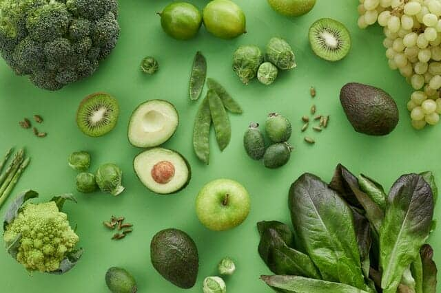 Frutas e legumes verdes